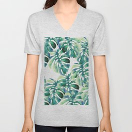 Monstera Pattern Green Unisex V-Neck