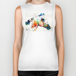 Colorful Horse Art - Wild Paint - By Sharon Cummings Biker Tank