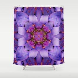 Purple Flower Kaleidoscope, Scanography Art Shower Curtain