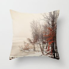 On winters frozen pond Throw Pillow