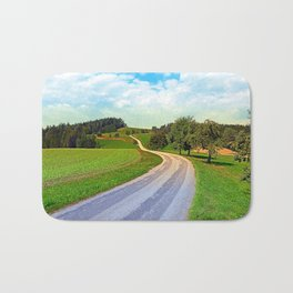 Apple trees along the country road   landscape photography Bath Mat