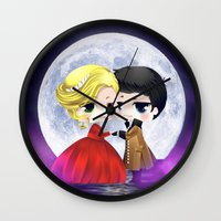 captain swan Wall Clocks featuring OUAT - Chibi Captain Swan Dance by Yorlenisama