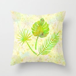 Tropical Leaf Watercolor Painting, Green Palm Tree Leaves Throw Pillow