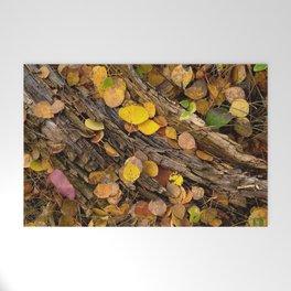 Log & Fall Leaves Welcome Mat