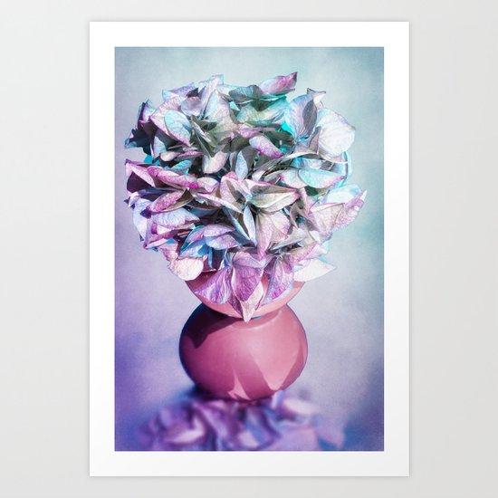 NOSTALGIA - Still life with vase and hydrangea flowers Art Print