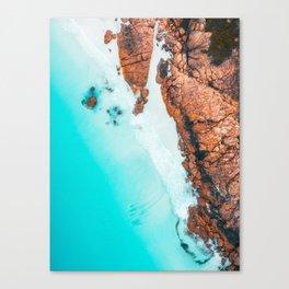 Teal Ocean Orange Rocks - Western Australia Canvas Print