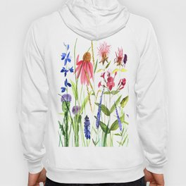 Botanical Colorful Flower Wildflower Watercolor Illustration Hoody