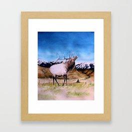 Elk and child Framed Art Print
