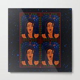 Estrellado, Indigo Sueno Azul (Starry, Indigo Blue Dream) - Symmetrical Art Metal Print