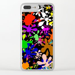 Colourful Fun Paint Blots and Stains Clear iPhone Case