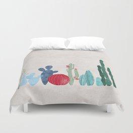 Cactus Garden on light background Duvet Cover