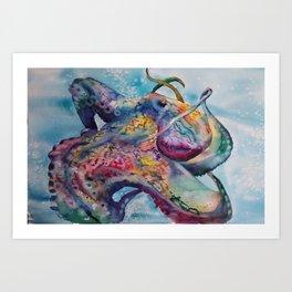 Wild Watercolor Octopus Art Print