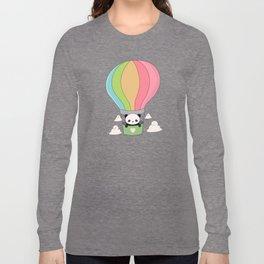 Kawaii Panda Bear Hot Air Balloon Long Sleeve T-shirt