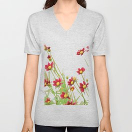 flowers on white Unisex V-Neck