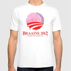 Vote Braains 2012 - A Zombie You Can Believe In White Mens Fitted Tee MEDIUM