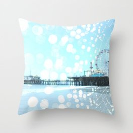 Turquoise Spiderweb Pier Throw Pillow