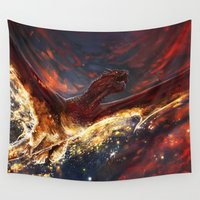 smaug Wall Tapestries featuring I am Fire, I am Death by Five-Oclock