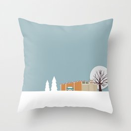 Retro series - Mid Century house in winter Throw Pillow