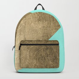 Trendy faux gold turquoise modern chic color block Backpack