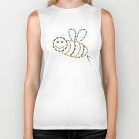 bee Biker Tanks featuring bee by gazonula