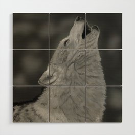 Lone Wolf Animal Digital Painting Wood Wall Art
