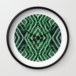 Green Circle African Dye Resist Fabric Adire Boho Chic Wall Clock
