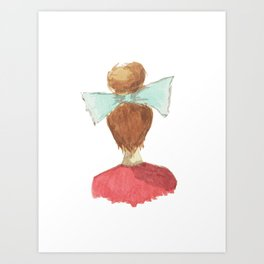 lady in a bow, blonde Art Print