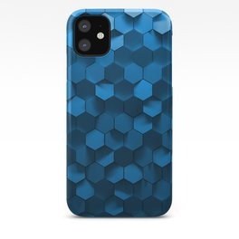 Blue hexagon abstract pattern iPhone Case
