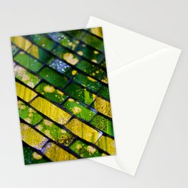 Abstract green and yellow pattern of morroccan style tiles Stationery Cards