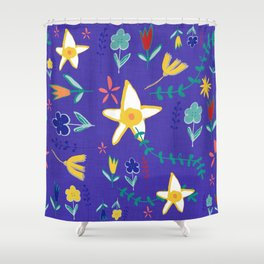 Floral The Tortoise and the Hare is one of Aesop Fables blue Shower Curtain