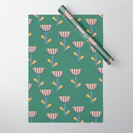 Folksy Floral Pattern in Green Wrapping Paper