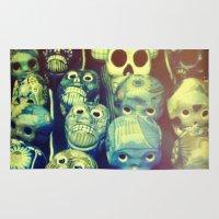 skulls Area & Throw Rugs featuring skulls by Bunny Noir