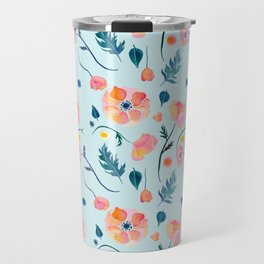 Blue and Pink Watercolor Poppies Travel Mug