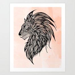 Peach Watercolor Lion Art Print