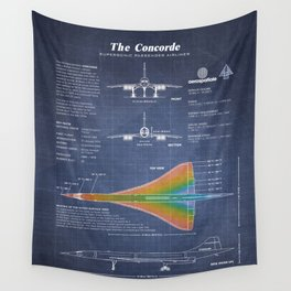 Concorde Supersonic Airliner Blueprint (dark blue) Wall Tapestry