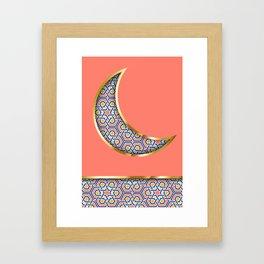 Patterned crescent on living coral pink Framed Art Print