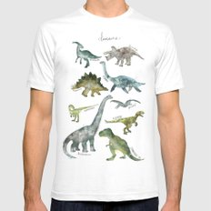 Dinosaurs White MEDIUM Mens Fitted Tee