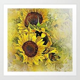 Painted Sunflowers Art Print