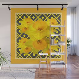 Golden Daffodils Grey Art Design Wall Mural