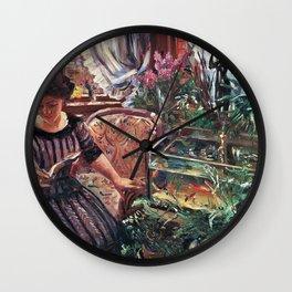 Woman and Goldfish Bowl - Digital Remastered Edition Wall Clock