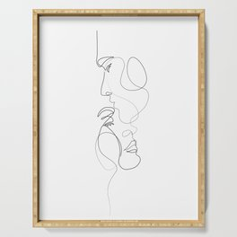Lovers - Minimal Line Drawing Art Print 2 Serving Tray