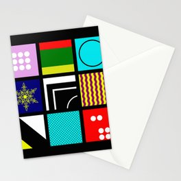 Eclectic 1 - Random collage of 9 bold colourful patterns in an abstract style Stationery Cards