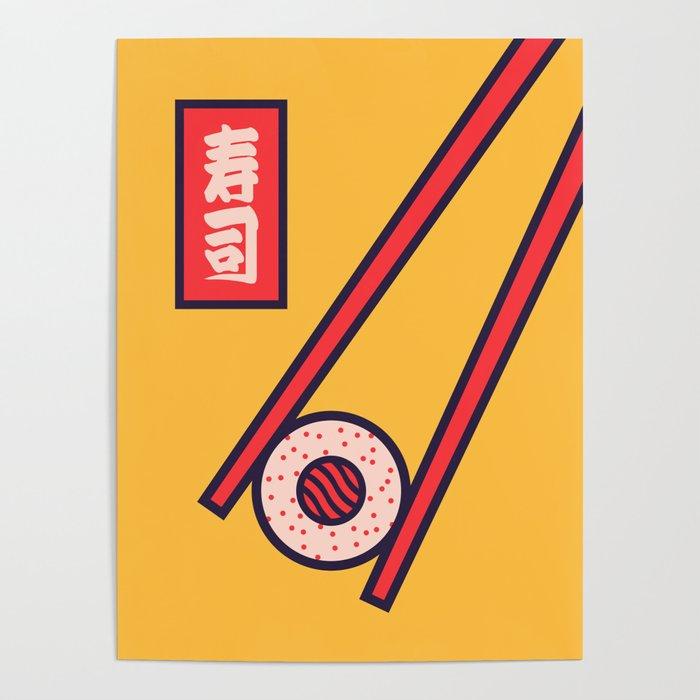 Sushi Minimal Japanese Food Chopsticks - Yellow Poster