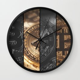 Cryptocurrency Concept finance and technology concept. Bitcoin, Ethereum, Banner. Wall Clock