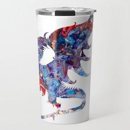 Colorful Bold Acrylic Abstract Art Dragon - Blue, Purple, Red Travel Mug