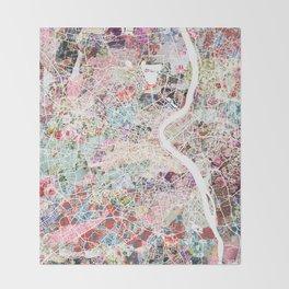 Bordeaux map, france Throw Blanket