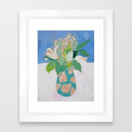 Lily and Eucalyptus Bouquet in Blue and Peach Floral Vase Framed Art Print