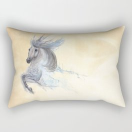 Dancing white horse Rectangular Pillow