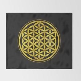 Flower Of Life (Golden Sunset) Throw Blanket