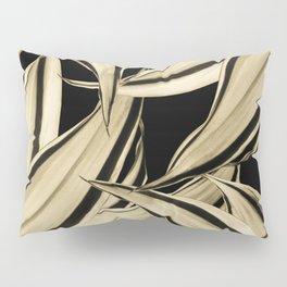 Dracaena Tropical Leaves Pattern Gold Black #2 #tropical #decor #art #society6 Pillow Sham